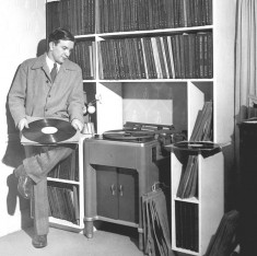 Scott and part of his fabulous record collection.