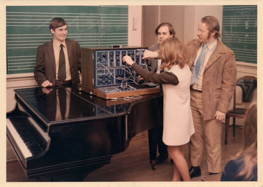 Tom Rhea demonstrating the Electrocomp Synth to students at George Peabody College, ca. 1970