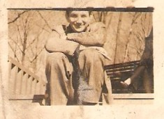 Scott, sitting on steps, ca. 1940s