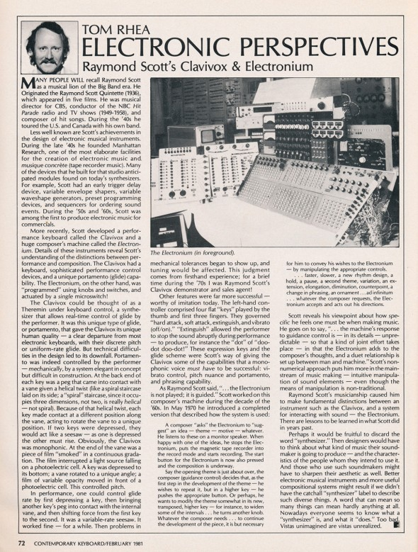 """Raymond Scott's Clavivox and Electronium,"" by Tom Rhea, Contemporary Keyboard magazine, Feb. 1981"